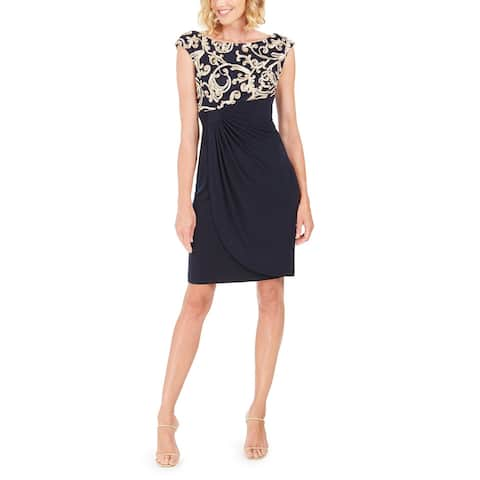 Connected Womens Soutache Wrap Dress Petite 6 Navy/Gold