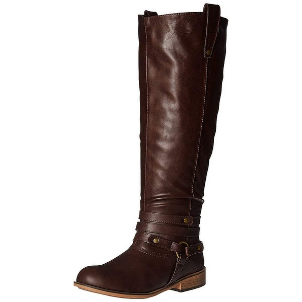 Journee Collection Womens WC- Walla Leather Closed Toe Knee High Fashion Boots