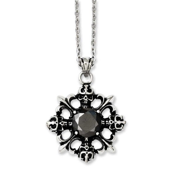 Chisel Stainless Steel Skulls & Fleur de lis with Black CZ 22in Necklace (2 mm) - 22 in