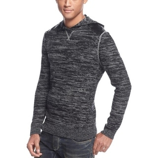 INC International Concepts Hoody Sweater Large Black and Gray Marled - L