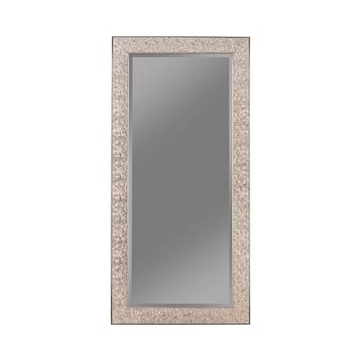 Rectangular Beveled Accent Floor Mirror with Glitter Mosaic Pattern, Silver