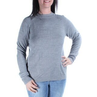 Womens Gray Long Sleeve Crew Neck Casual Sweater Size S