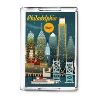 Philadelphia, Pennsylvania - Retro Skyline - Lantern Press Artwork (Acrylic Serving Tray)