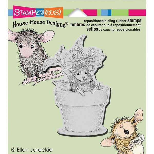 """Stampendous House Mouse Cling Stamp 3.5""""X4""""-Potted Mouse"""