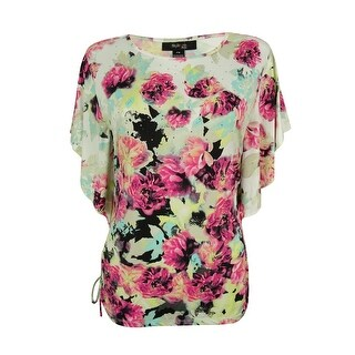 Style & Co. Women's Flutter Sleeves Floral Print Top - pm
