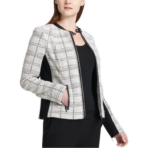 Calvin Klein Womens Tweed Moto Jacket