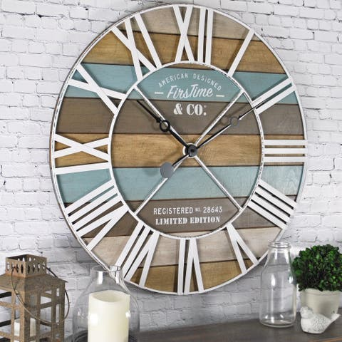 FirsTime & Co.® Maritime Farmhouse Planks Wall Clock, Iron, 24 x 2 x 24 in, American Designed - 24 x 2 x 24 in