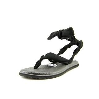 Sanuk Yoga Joy Women  Open-Toe Canvas Black Slingback Sandal