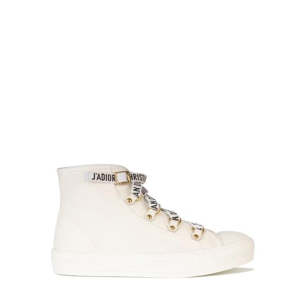 ec586446 Shop Dior Womens White Canvas Walk'N'Dior High Top Sneakers - Free ...