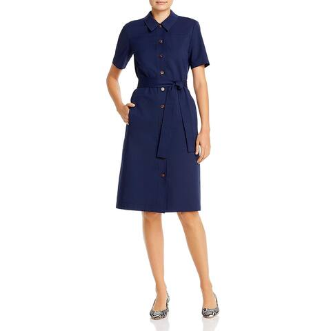 Lafayette 148 New York Womens Kylie Shirtdress Woven Short Sleeves - Royal Blue