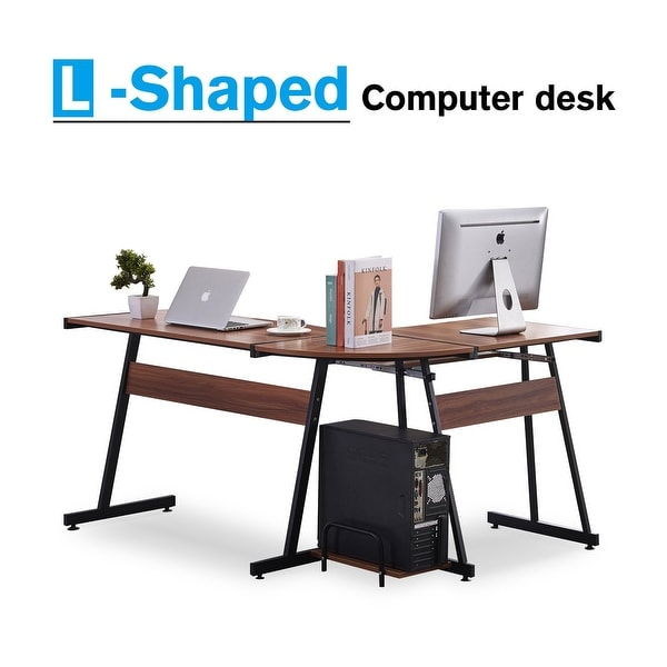 Office Desk Corner L Shaped Workstation Laptop Table With Keyboard Tray And  CPU Stand   Brown