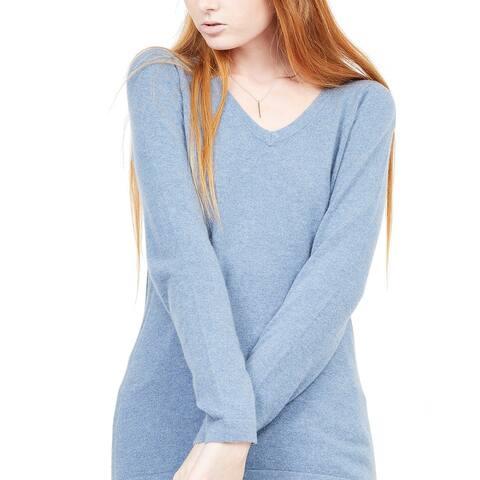 Quinn Essential Cashmere V-Neck Sweater - charcoal htr