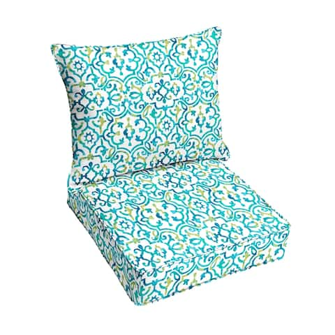 Blue Corded Indoor/ Outdoor Deep Seating Pillow and Cushion Set