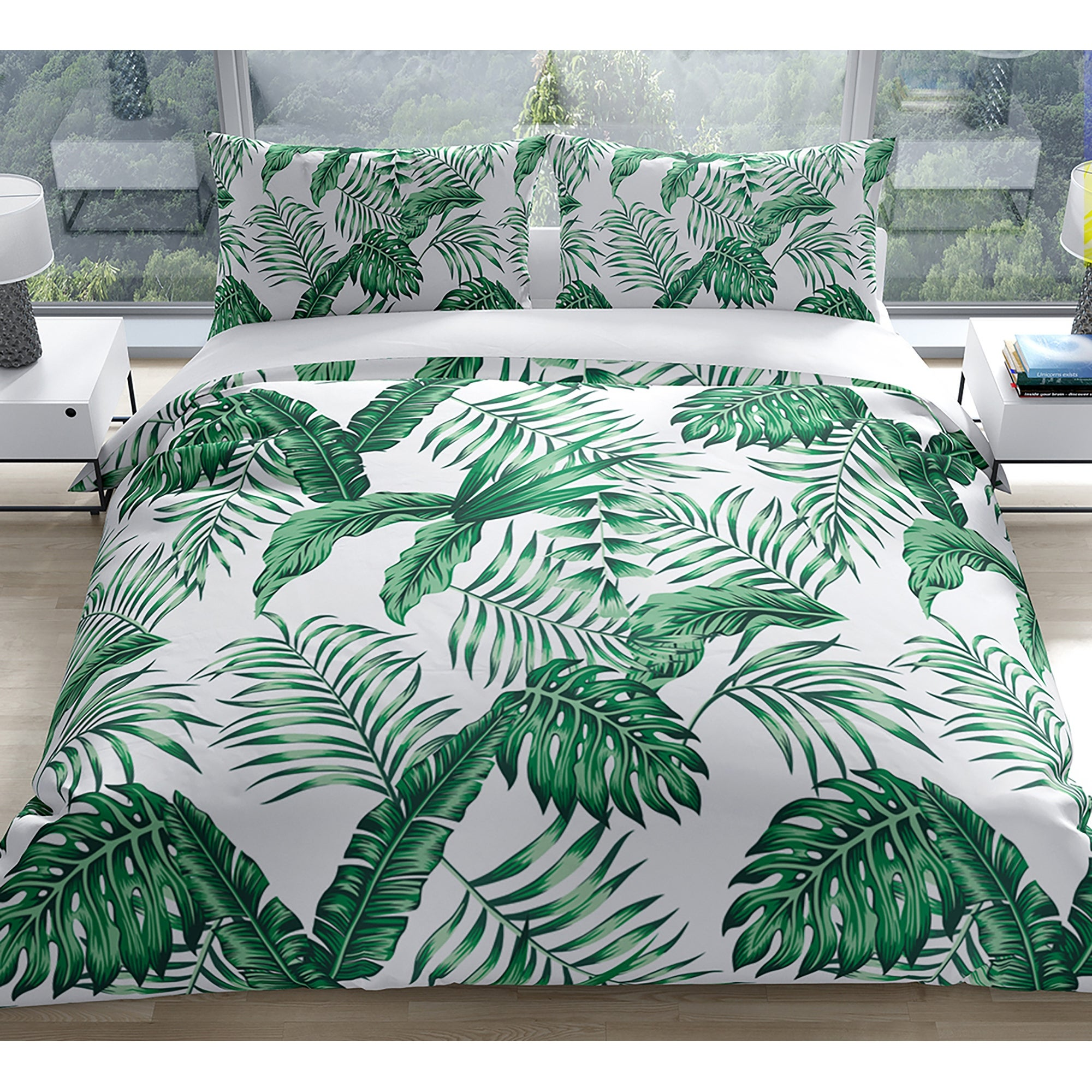 Green Tropical Leaves Duvet Cover By Kavka Designs Overstock 30879034 Silhouettes of evergreen compound leaves, different shapes, leaves made of thin curved lines. green tropical leaves duvet cover by kavka designs