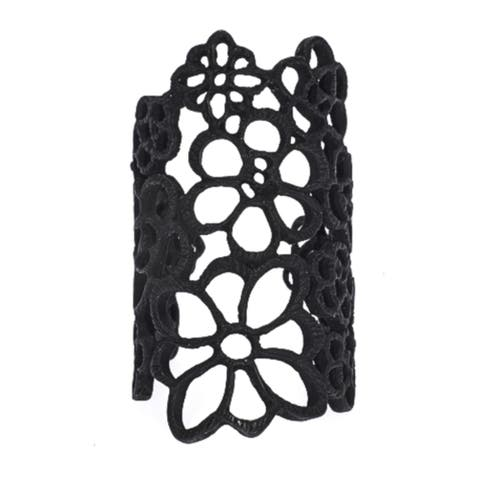 Black Long Hollow Flowered Lace Ring