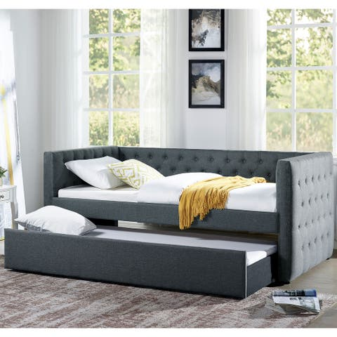 Furniture of America Jul Transitional Grey Twin Daybed with Trundle