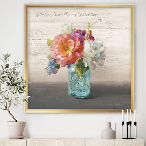 Designart 'French Cottage Bouquet I Mothers' Cottage Premium Framed Art Print