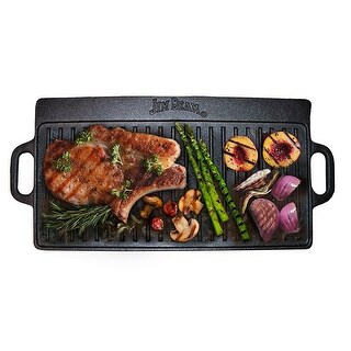 """Jim Beam Pre Seasoned 8"""" Double Sided Cast Iron Reversible Griddle for Superior Heat Retention and Even Cooking"""
