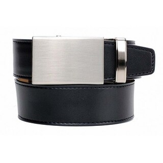 Nexbelt Brushed Nickel Smooth Black Dress Golf Belt with Satin Jewel Box
