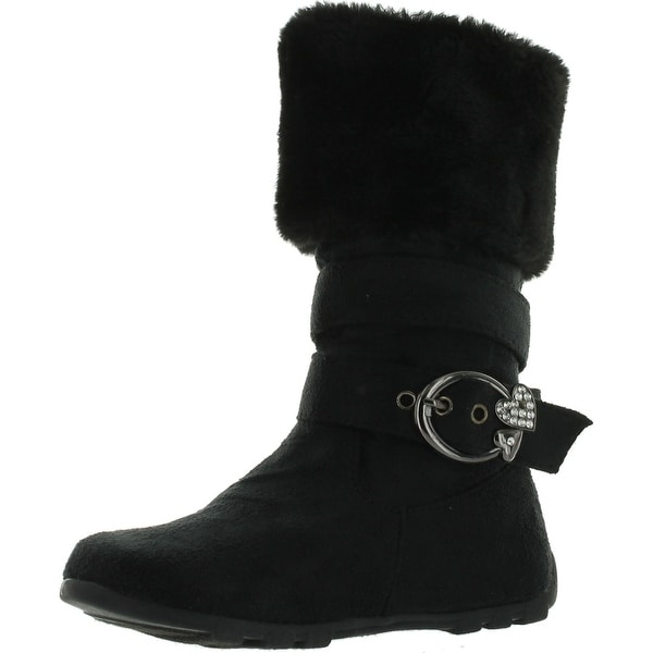 New Girls Slouch Comf Tall Midcalf Suede Winter Boots Shoes