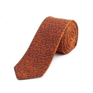 Z Zegna Men's Slim Silk Patterned Tie Orange - no size