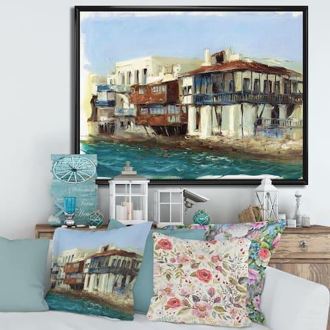 Designart 'Old Houses on The Island of Mykonos Greece' Nautical & Coastal Framed Canvas Wall Art Print