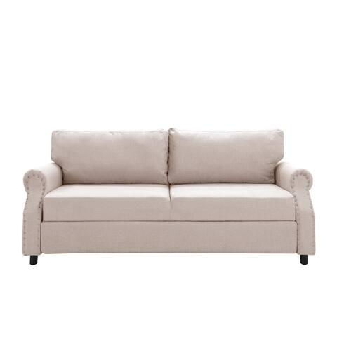 Living Room Linen Nailhead Storage Sofa