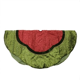"""60"""" Red Swirled Sequin Christmas Tree Skirt with Green Leaf Trim"""