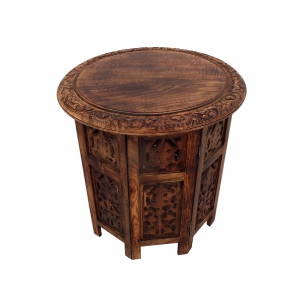 Transitional Style Octagonal Table Folding, Brown