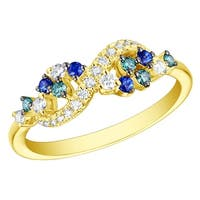 Prism Jewel 0.39CT Blue Sapphire with Blue & White Diamond Infinity Ring
