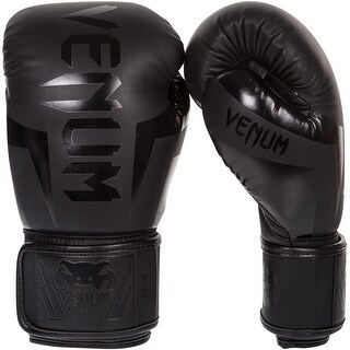 Venum Elite Hook and Loop Boxing Gloves - Matte Black