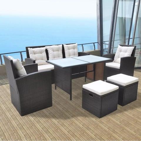 vidaXL Garden Furniture 18 Piece Poly Rattan Wicker Dining Table Sofa