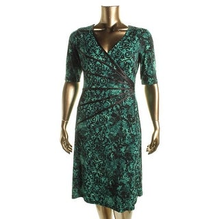 Connected Apparel Womens Printed Stretch Casual Dress