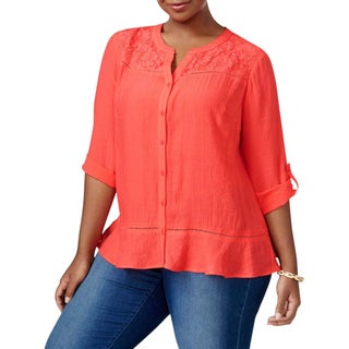 NY Collection Womens Plus Blouse Gauze Lace Front