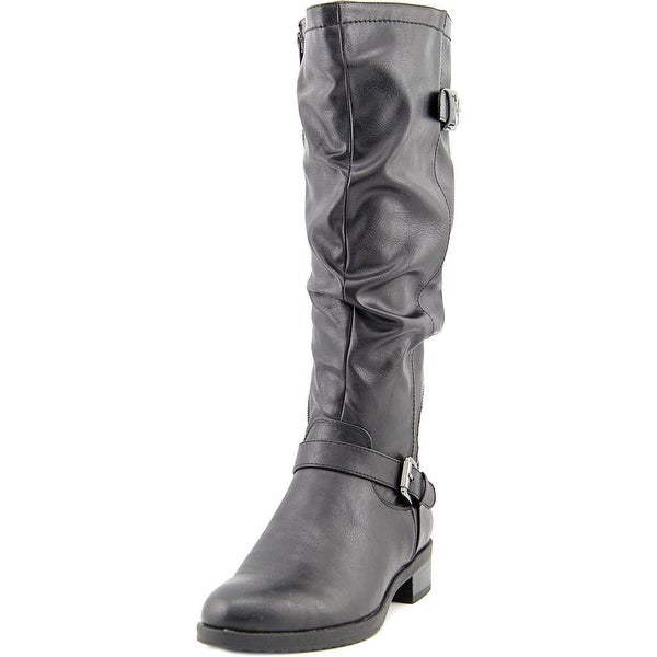 White Mountain Chip Women Round Toe Synthetic Black Knee High Boot