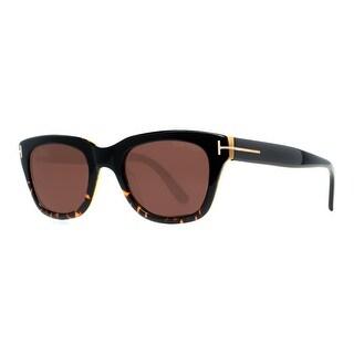 TOM FORD Square Snowdon TF237 Unisex 05J Shiny Black/Havana Grey Gradient Sunglasses - 50mm-21mm-145mm