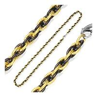 Stainless Steel Plated Black and Gold Tri-Link Chain (6 mm) - 24 in