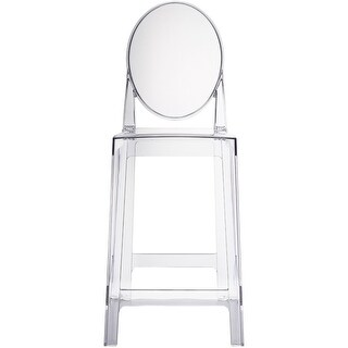 """2xhome - Clear 25"""" Seat Height With Back Modern Plastic Side Bar Stool Counter Stool Accent Armless Crystal Home Office"""