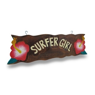 Surfer Girl Wooden Sign w/Pink Hibiscus Flower Accents 23 in. - Pink