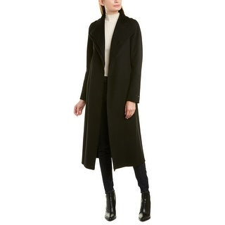 Tahari Belted Long Wool-Blend Wrap Coat