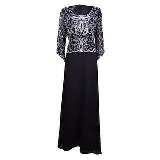 J Kara Women's Beaded Scalloped Crepe Gown - Black/White/Silver