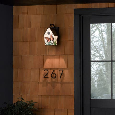 Annabelle River of Goods Butterfly Stained Glass and Oil-Rubbed Bronze 1-Light Birdhouse Outdoor Light Fixture