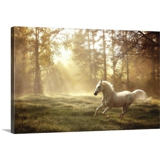 """White horse running"" Canvas Wall Art"