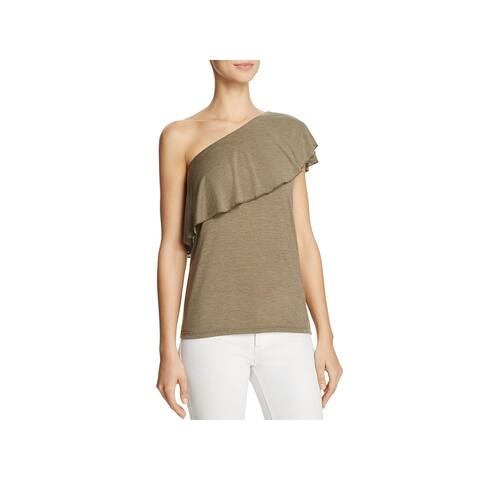 IRO Womens Casual Top Heathered One Shoulder