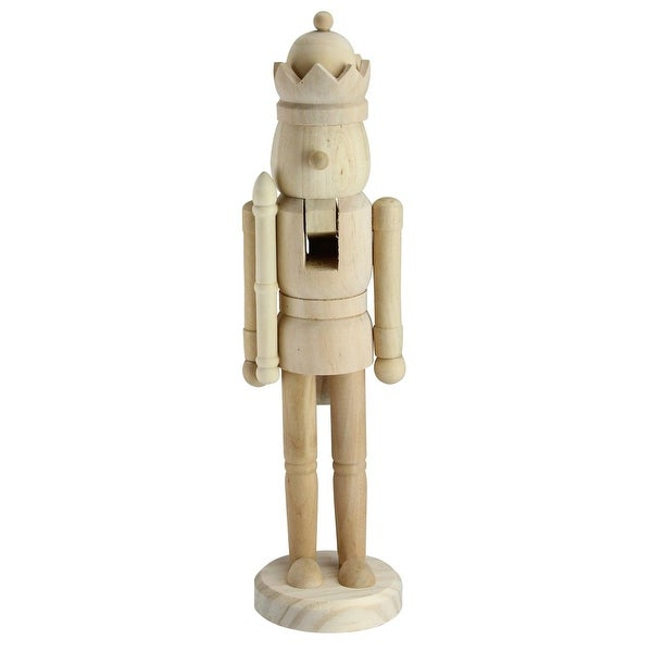 """14.5"""" Traditional Unfinished Wood Paintable Nutcracker"""