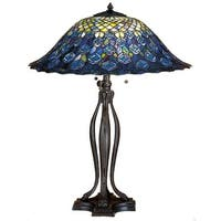 Meyda Tiffany 28504 Stained Glass / Tiffany Table Lamp from the Peacock Feather Collection - tiffany glass - n/a