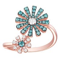 Prism Jewel 0.47Ct G-H/SI1 Ice-Blue Color Diamond with Natural Diamond Two-Flower Ring - Blue/White G-H