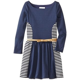 Rare Editions Girls Striped Colorblock Casual Dress - 12