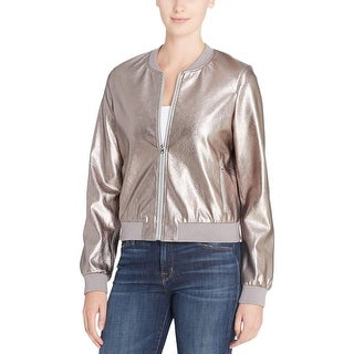 Catherine Malandrino Womens Jimmie Bomber Jacket Coated Ribbed Trim