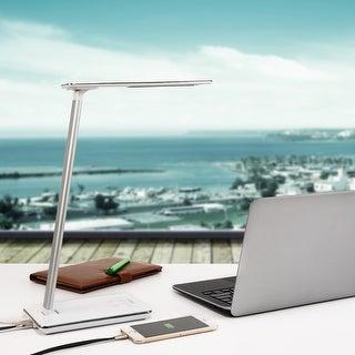 Rixx Dimmable LED Desk Lamp, 4 Lighting Modes, USB Port, Piano White/Black